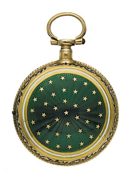 AN ENAMEL AND GOLD POCKET WATCH, 1830