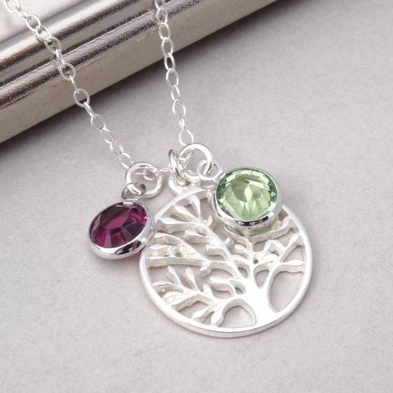 Mothers Necklace Family Necklace in Sterling Silver, Tree of Life Birthstone Necklace, Personalized Necklace, New Mom Gift, Grandma Necklace