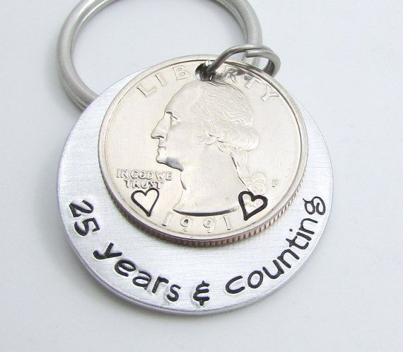 Anniversary Gift - Personalized KeyChain - Hand Stamped KeyChain - 25 Years & Counting  - 25th Anniversary Gift For Men - Silver Anniversary