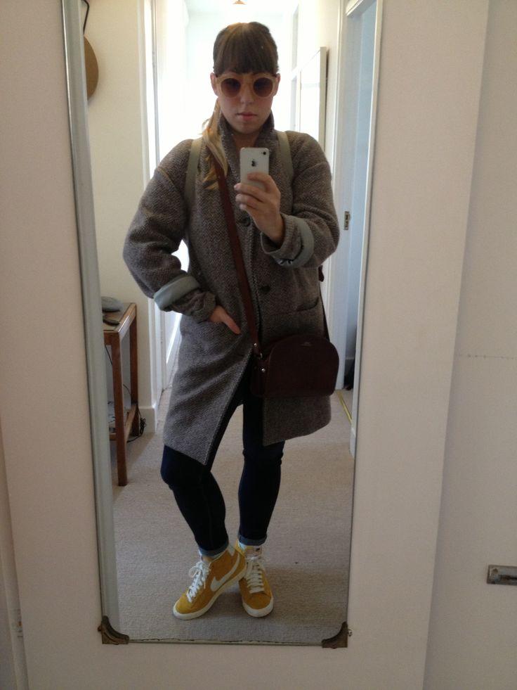 Coat APC, Skinny jeans Urban Outfitters, Mustard Blazers Nike, Handbag APC, Peach and gold sunnies Topshop