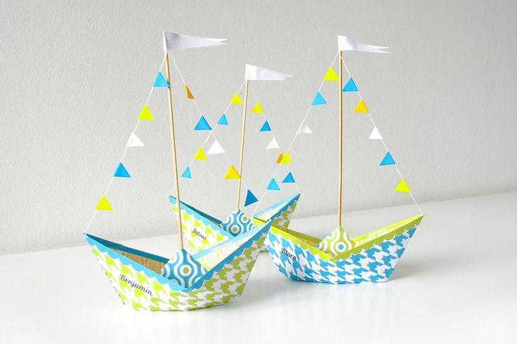 · Papierboot Vorlage ausdrucken · weißes A4 Papier · Tonzeichenpapier in weiß, gelb und blau – für die Wimpeln · weißen Zwirn, Nähnadel · Schaschlikspieße · Kleber Bild 1: pdf-Datei auf A4 Papier b…