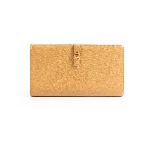 Chanel Beige Calfskin Continental Wallet (1,025 BAM) ❤ liked on Polyvore featuring bags and wallets