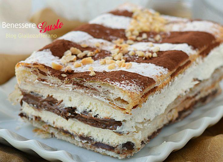 Millefoglie mascarpone e nutella, ricetta dolce veloce ideale come dessert fine pasto, con crema dolce al mascarpone e crema di nocciole