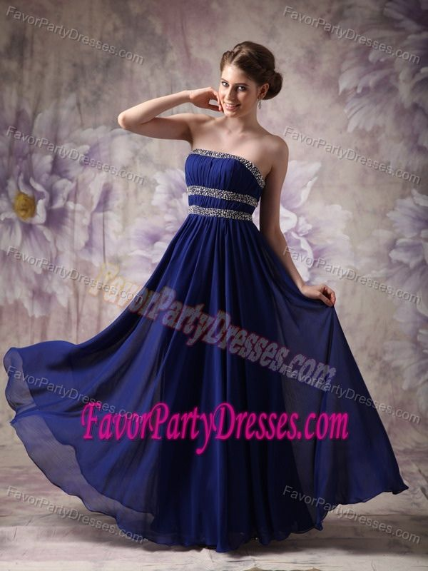 Chiffon Blue Empire Strapless Cheap Prom Party Dress in Floor-length