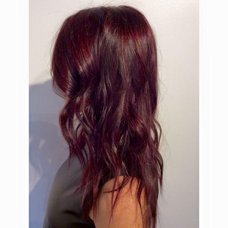 Burgundy hair. Maroon hair. Red hair. Dark hair. Purple hair. Fall hair. Hair by Mallory at B Young Salon Wichita KS