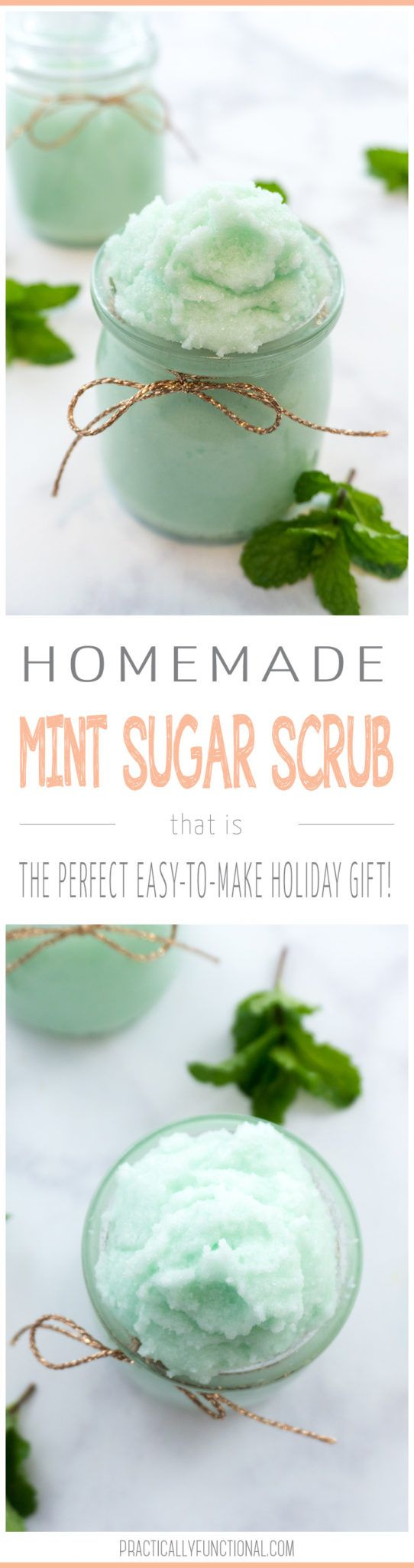 If you're looking for an easy holiday gift idea, try this homemade mint sugar scrub recipe! It comes together in seconds and is the perfect gift for your teacher, mail delivery person, hair dresser, everyone!