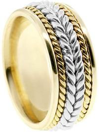 American Set Co. Men's Two Tone 14K Yellow White Gold Braided 8mm Comfort FIT Wedding Band   – Mens Gold Rings