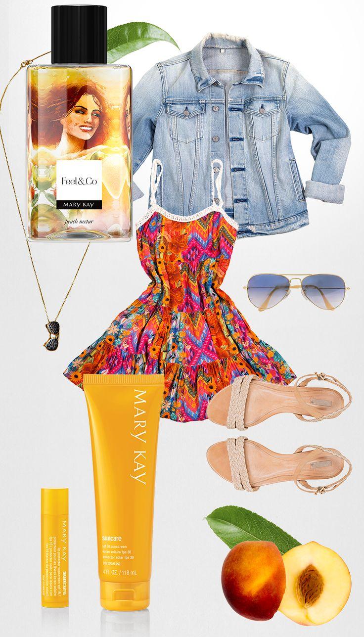 Para um momento onde você quer se sentir viva e solar, o Feel&Co™ Fine Mist Peach Nectar é tudo de bom. Assim como ele, o look de cores fortes numa estampa cheia de atitude é complementado com a clássica jaqueta jeans. Pra se manter linda e bem cuidada, não abra mão do Protetor Solar para os Lábios FPS 15 e do Protetor Solar FPS 30.