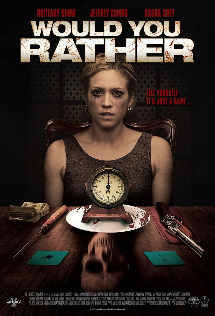 """Would You Ratheris a 2012 American horror thriller filmbased on the party game """"Would You Rather"""".It was directed byDavid Guy Levyfrom a screenplay by Steffen Schlachtenhaufen, It…"""
