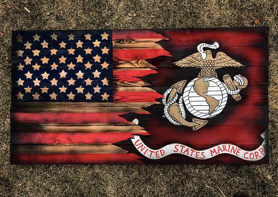 We Are Officially Licensed By The United States Marine Corps Hobbyist License Number 18014 This Is The American Flag Wood American Flag Wall Art Wooden Flag