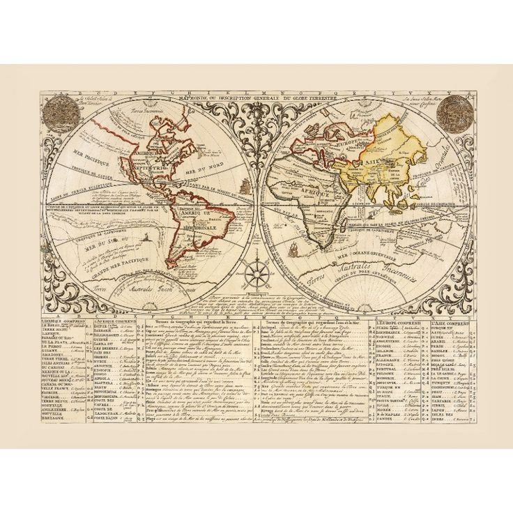Vintage world map print for wall art design. Handmade paper print.