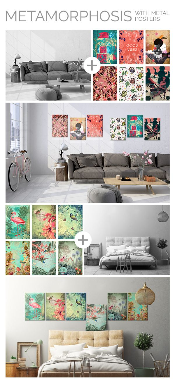 Change your interior in just a few seconds with magnet mounted metal posters. You can freely rearrange the posters depending on your mood, year season or current interests! #homedecor