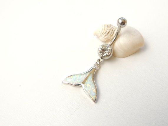 Whale Tail Belly Ring Fire Opal Belly Rings by SeductiveBodyWorks