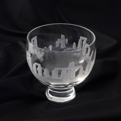 The bowl has been produced exclusively for English Heritage by Dartington. Each piece has been individually hand-blown in 24% lead crystal and hand-engraved. The glass bowl features English Heritages specially commissioned Stonehenge Equinox design, inspired by an original 18th-century etching held at the Wiltshire Museum in Devizes.