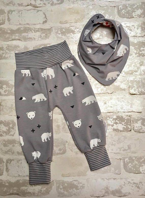 Osos polares bebé niño polainas con puños, pantalones de niño bebé gris, Boy chándal, polainas de bebé, nueva papá regalo, corredores del muchacho del bebé, bebé niña