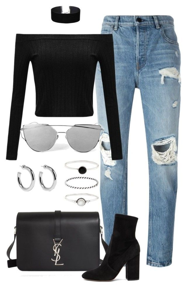 """""""Untitled #2411"""" by annielizjung ❤ liked on Polyvore featuring Alexander Wang, Yves Saint Laurent, Miss Selfridge, Valentino, Sophie Buhai and Accessorize"""