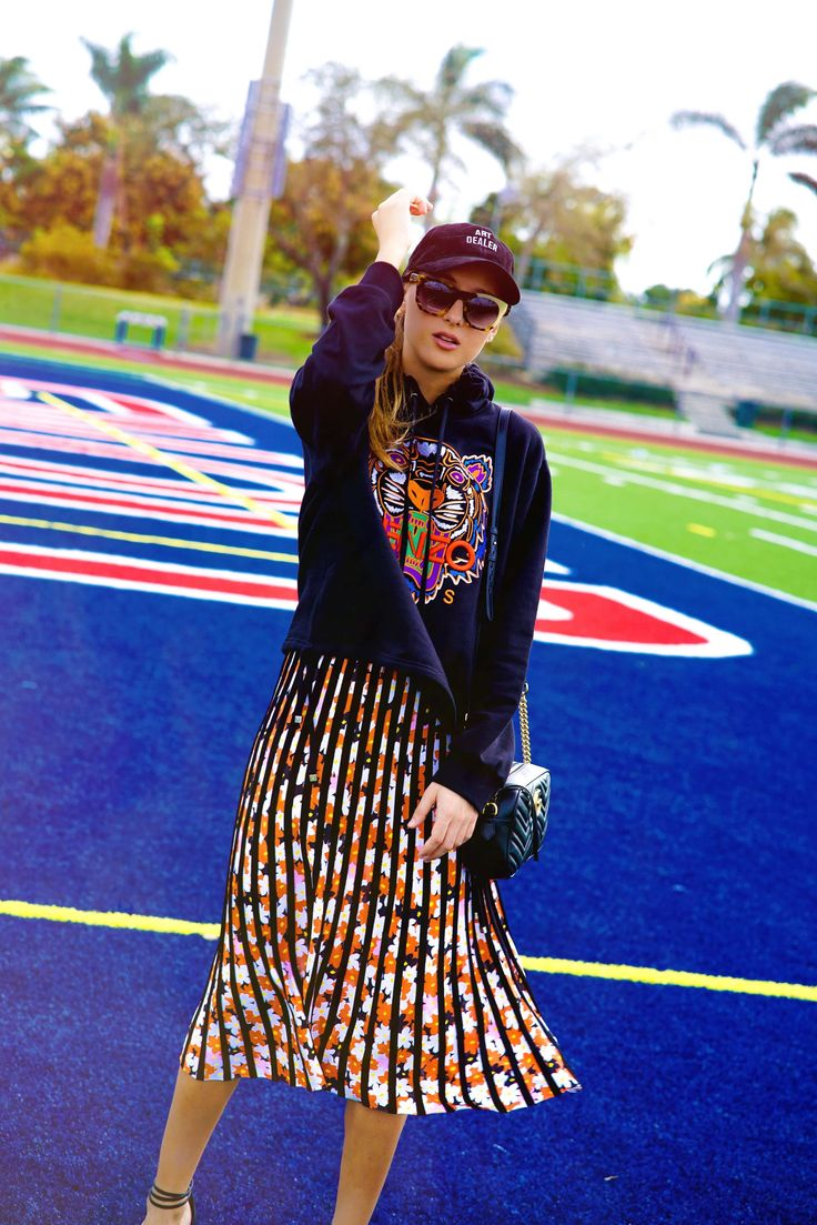 Latest from Tanya Litkovska: how to style Kenzo pleated skirt and Tiger hoodie and look flawless!  {fall fashion, sport glam, colorful dressing, midi skirt, classic dressing, classy style}