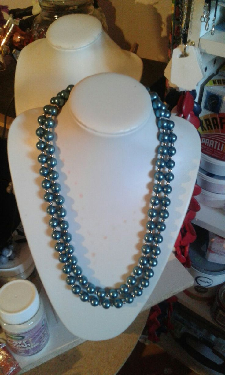double string glass pearls in turquoise