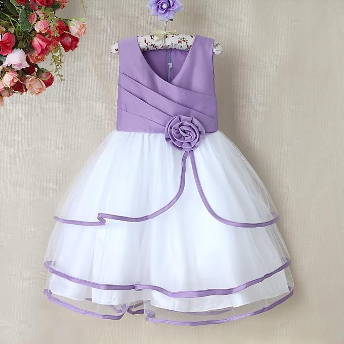 2bd40f8391bf Baby Wedding Party Dress with Bow in White and Lavender | Princess  heirlooms | Girl dress patterns, Dresses, Frocks for girls