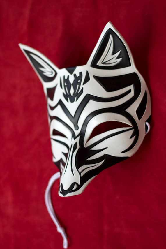 Japanese Smiling Kitsune Fox Leather Mask by B3leatherdesigns