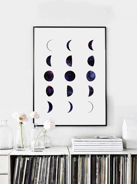 Phases Of The Moon Print Moon Phases Wall Art Watercolor Moon Phase Print Galaxy Art Print Moon Poster La Luna Minimalist Art Space Art