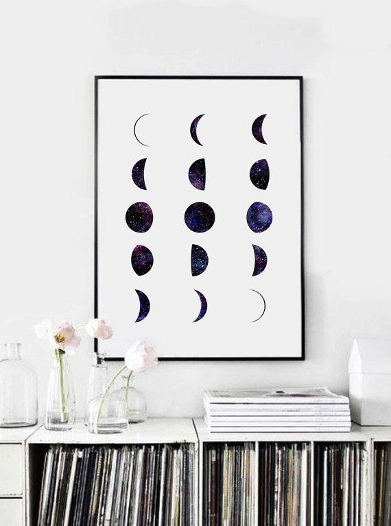 Moon Phases Galaxy Moon Phase Print Moon Wall by PrintasticStudio