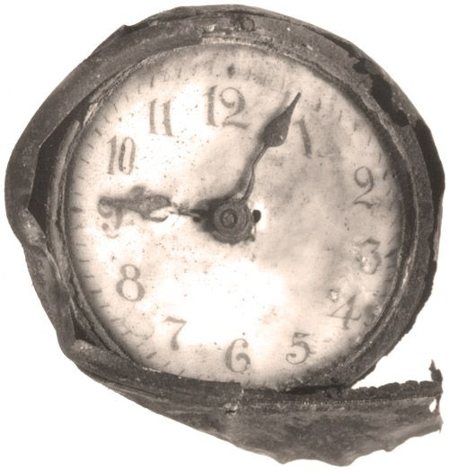 This clock was discovered in the rubble after the Halifax Explosion. The clock stopped moving in the exact moment of the blast.