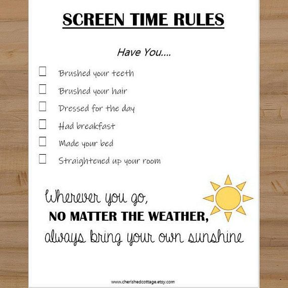 Printable Screen Time Rules Sheet For Kids Morning Tv Rules Screen Time Rules Rules For Kids Screen Time