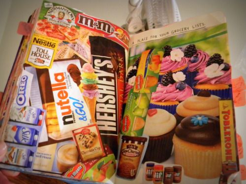 kaydeewrecksajournal:  Grocery Lists I decided to just paste in a bunch of food pictures instead of actually writing a list, cause that'd just be boring. No I don't actually buy a bunch of cupcakes and candy, I do however buy those little Nutella to go things almost every time I go to Walmart. =]