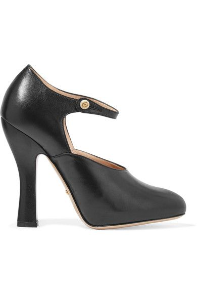 Heel measures approximately 105mm/ 4 inches with a 20mm/ 1 inch concealed platform  Black leather Button-fastening ankle strap  Made in Italy