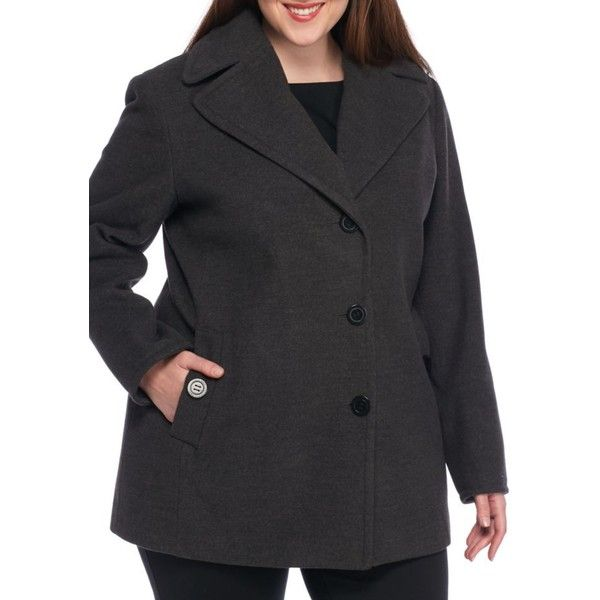 Calvin Klein Gray Calvin Klein Womens Plus Button Front Peacoat -... ($100) ❤ liked on Polyvore featuring plus size women's fashion, plus size clothing, plus size outerwear, plus size coats, grey, gray pea coat, gray coat, grey pea coat, gray peacoat and grey coat