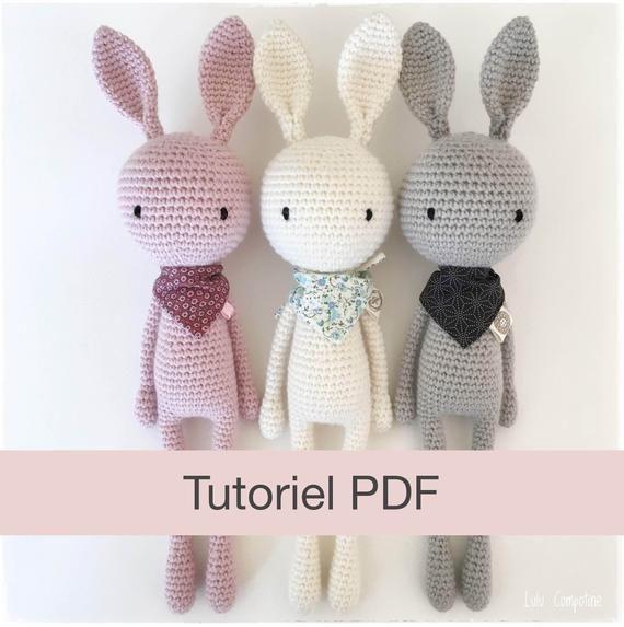 Patron PDF Doudou au crochet Amigurumi Lapin DIY