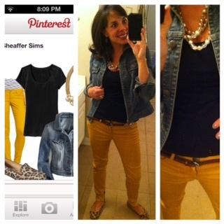 Pinterest Told Me To! mustard pants, denim jacket, black t-shirt, leopard flats,and pearls. I may be wearing this tomorrow!!