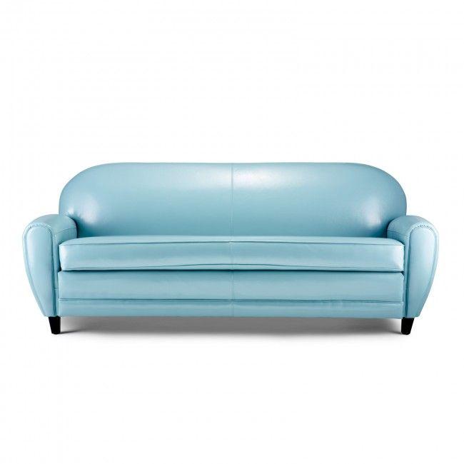 Captivating Light Blue Leather Sofa