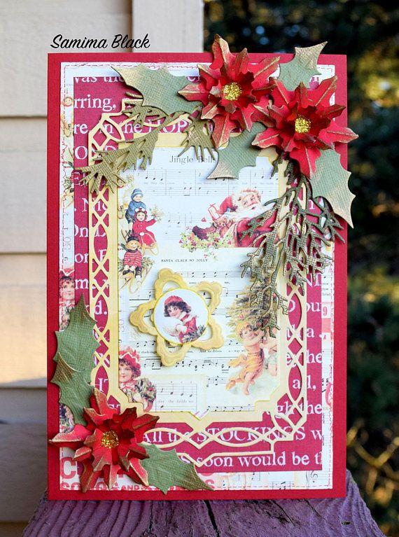 Fancy Christmas Card Shabby Handmade Christmas Card Handmade