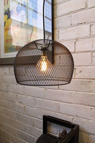Wire Basket Pendant Light. Black metal shade with 3 metre cord - Fat Shack Vintage - Fat Shack Vintage