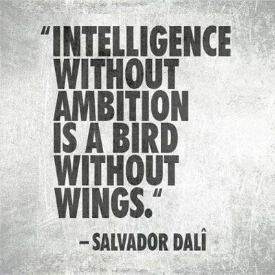 """[""""Intelligence without ambition is a bird without wings."""" - Salvador Dali] Write to give your ideas and insights flight. #writing #inspiration #knowledge"""