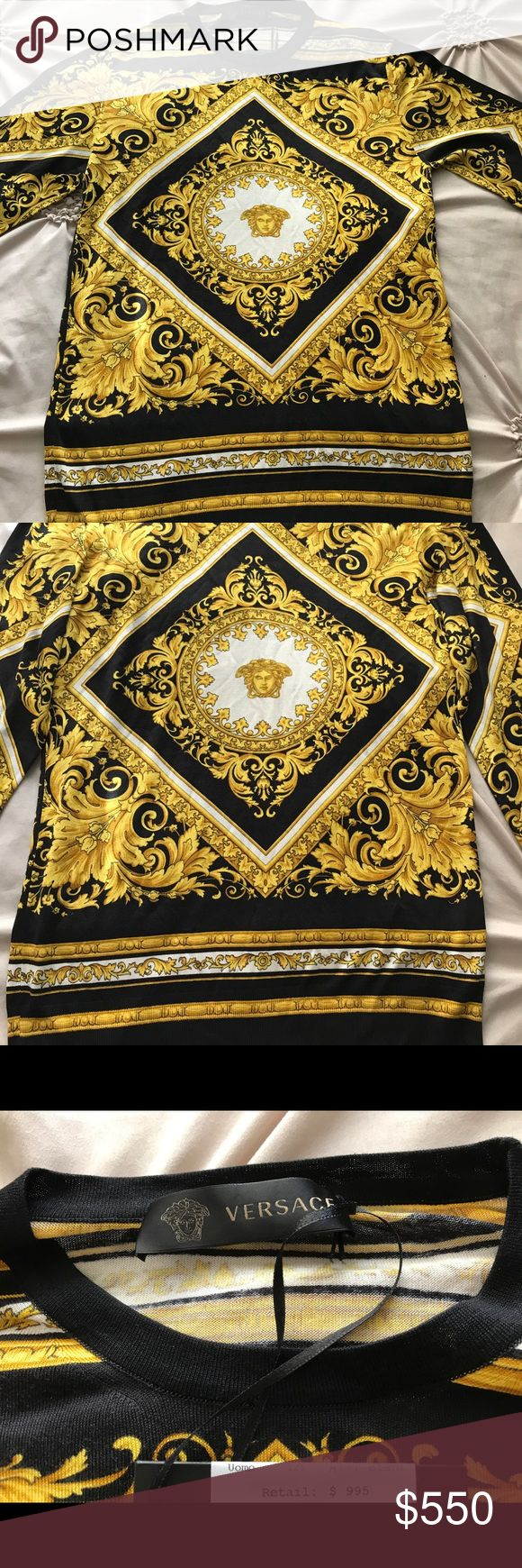 NEW VERSACE SHIRT! SIGNATURE PATTERN! NEW WITH TAGS VERSACE SHIRT! UNBELIEVABLE QUALITY AND CRAFTSMANSHIP! THIS SHIRT RETAILS FOR OVER $1000. YOU WONT FIND AUTHENTIC CLASSIC SHIRTS LIKE THIS AROUND. KEY WORD BEING AUTHENTIC 😉                              Made In Italy!!!!                                                       DRESS LIKE A CELEBRITY FOR LESS!!! Versace Shirts Tees - Long Sleeve