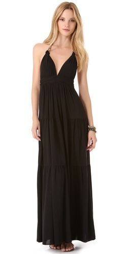 Tbags los angeles maxi dress with embroidered bib aprons