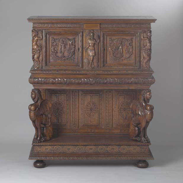 Court Cupboard by an unknown maker, after a design by Jacques Androuet Du Cerceau (French, active c. 1549-1584). Royal Ontario Museum Images #ROM2004_1029_9