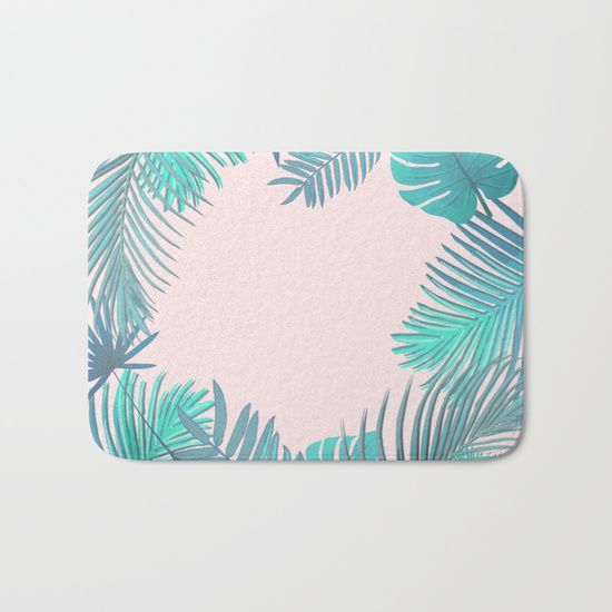 BLUSH AND TEAL TROPICAL Bath Mat by Xiari - Society6 - blush, teal, turquoise, tropical , exotic, greenery, geometrical, geometry, pattern, hipster, boho, bohemian, leaf, leaves, Scandinavian design, art print, duvet cover, trend, design, interior design, wall art, tapestries, digital, society6, green