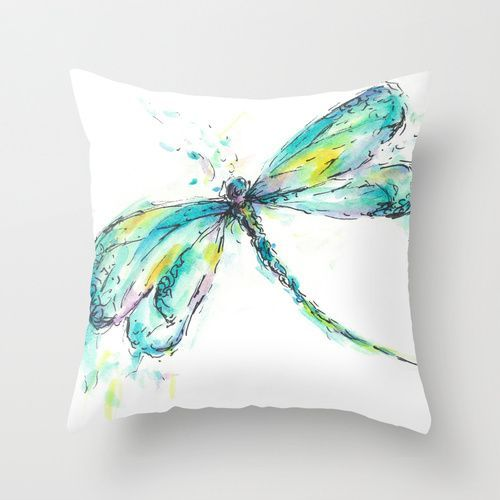 awesome Watercolor tattoo - Watercolor Dragonfly Throw Pillow by Consie Sindet Check more at http://tattooviral.com/tattoo-designs/watercolor-tattoos/watercolor-tattoo-watercolor-dragonfly-throw-pillow-by-consie-sindet/