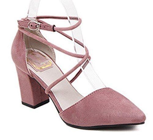 Oferta: 12.93€. Comprar Ofertas de Minetom Mujer Elegante Nubuck Zapatos Puntiagudos Cruz Correa De Tobillo Sandalias Con Tacón Grueso Rosa 35 barato. ¡Mira las ofertas!