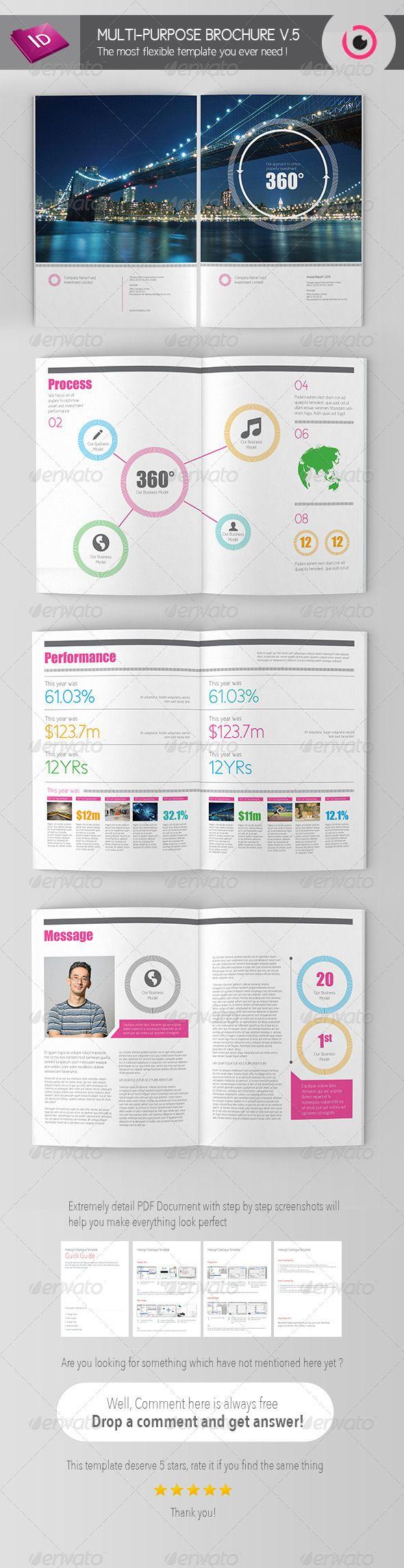 multi page brochure template - multi purpose brochure template v 5 simple dark and fonts