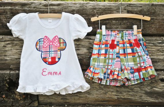 Custom Miss Mouse Summer Madras shirt + Coordinating Ruffle Shorts.  By Hoot n Hollar Childrens Clothing