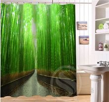 Luqiカスタム美容竹、竹林浴室シャワーカーテンポリエステル防水送料無料SQ0622-Q0911(China (Mainland))