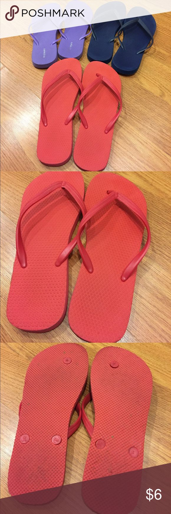 Black sandals old navy - Three Pair Of Old Navy Flip Flops Size 7 8 Red Navy And Purple