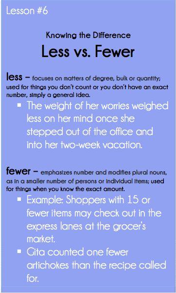 Good Grammar Is . . . : Much less vs. Fewer