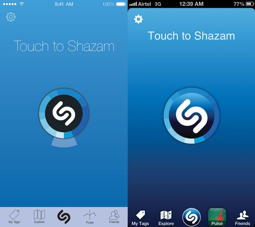 Shazam Redesigned for iOS 7. Some icons could be better though.