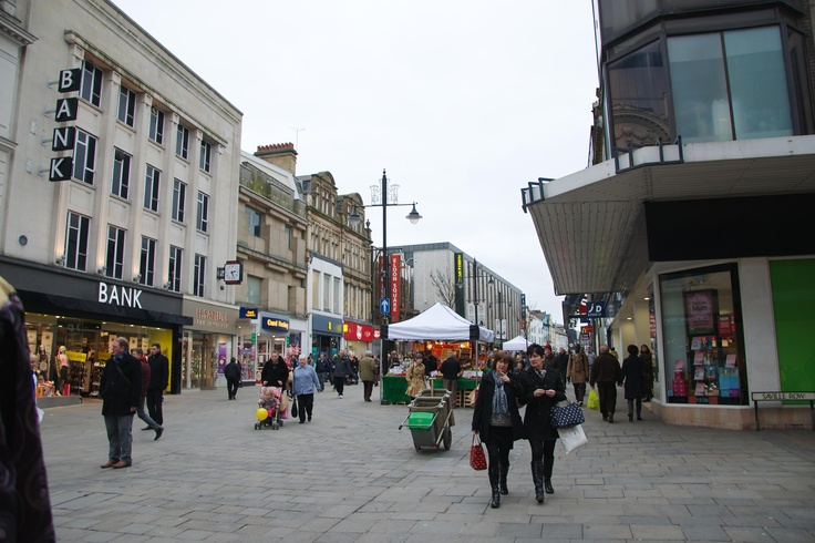 February 2013 - A shot from the middle of Northumberland Street up towards M & S. Despite a few modern additions, M & S still retain their recognisable light-up sign.